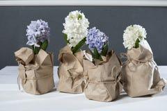 Η σύνθεση λουλουδιών τους ιώδεις και άσπρους υάκινθους που τυλίγονται με στο έγγραφο του Κραφτ η ανασκόπηση ανθίζει το διανυσματι Στοκ Εικόνα