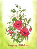 Η σύνθεση με το καλοκαίρι ανθίζει: παπαρούνα, daffodil, anemone, viole Στοκ φωτογραφία με δικαίωμα ελεύθερης χρήσης