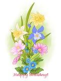 Η σύνθεση με το καλοκαίρι ανθίζει: παπαρούνα, daffodil, anemone, viole Στοκ Φωτογραφία