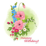 Η σύνθεση με το καλοκαίρι ανθίζει: παπαρούνα, daffodil, anemone, viole Στοκ Εικόνες