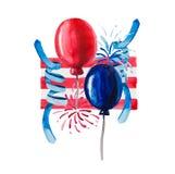 Η σύνθεση των μπαλονιών watercolor που χρωματίστηκαν στο χρώμα της σημαίας της Αμερικής δημιουργήθηκε ειδικά για τέτοιες διακοπές ελεύθερη απεικόνιση δικαιώματος