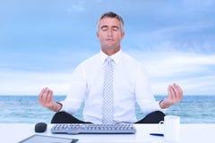 Η σύνθετη εικόνα επιχειρηματιών zen στο λωτό θέτει Στοκ εικόνα με δικαίωμα ελεύθερης χρήσης