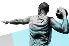 Η σύνθετη εικόνα οπισθοσκόπου του discus άσκησης αθλητικών τύπων ρίχνει Στοκ Εικόνες