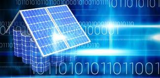 Η σύνθετη εικόνα της τρισδιάστατης εικόνας του πρότυπου σπιτιού έκανε από τα ηλιακά πλαίσια και τα κύτταρα απεικόνιση αποθεμάτων