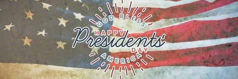 Η σύνθετη εικόνα του Θεού ευλογεί την Αμερική Ευτυχής ημέρα Προέδρων τυπογραφία στοκ φωτογραφία