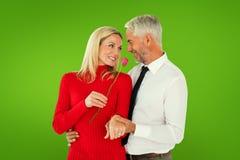 Η σύνθετη εικόνα του όμορφου ατόμου που δίνει στη σύζυγό του έναν ρόδινο αυξήθηκε Στοκ Φωτογραφία