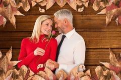 Η σύνθετη εικόνα του όμορφου ατόμου που δίνει στη σύζυγό του έναν ρόδινο αυξήθηκε Στοκ Φωτογραφίες