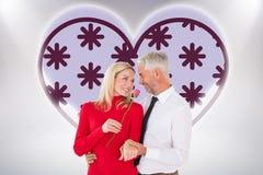 Η σύνθετη εικόνα του όμορφου ατόμου που δίνει στη σύζυγό του έναν ρόδινο αυξήθηκε Στοκ εικόνες με δικαίωμα ελεύθερης χρήσης