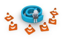 Η σύνδεση στο Διαδίκτυο είναι κάτω από τη συντήρηση από το πρόσωπο Στοκ εικόνα με δικαίωμα ελεύθερης χρήσης