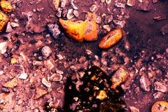 Η σύσταση που αποτελείται από τις πολύχρωμα πέτρες και το νερό Εικόνα αντίθεσης του φανταστικού τοπίου στοκ φωτογραφία με δικαίωμα ελεύθερης χρήσης