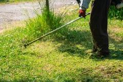 Η τέμνουσα χλόη κηπουρών από το θεριστή χορτοταπήτων, προσοχή χορτοταπήτων στοκ εικόνα με δικαίωμα ελεύθερης χρήσης