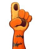 Η τίγρη αυξάνει το χέρι Στοκ εικόνα με δικαίωμα ελεύθερης χρήσης