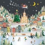 Η ταπετσαρία σκηνής νύχτας του χωριού τοπίων χιονιού, Άγιος Βασίλης είναι COM Στοκ Φωτογραφία