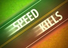 Η ταχύτητα σκοτώνει την επιταχυνόμενη απεικόνιση κόκκινου φωτός κυκλοφορίας ήττας Στοκ Φωτογραφίες