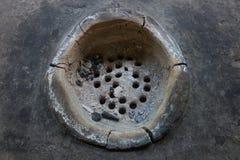 Η ταϊλανδική σόμπα και η παν χρήση για το μαγείρεμα, θέρμανση από το έγκαυμα του μαύρου ξυλάνθρακα άνθρακα στην κορυφή της σόμπας Στοκ φωτογραφίες με δικαίωμα ελεύθερης χρήσης