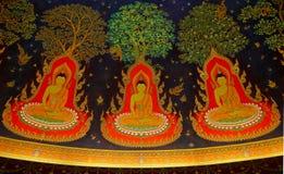 Η ταϊλανδική τέχνη της ζωγραφικής θρησκείας στον τοίχο του ναού Στοκ Φωτογραφία