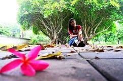 Η ταϊλανδική τοποθέτηση γυναικών και κάθεται στο πάτωμα με Plumeria ή Templetree Φ Στοκ Εικόνες