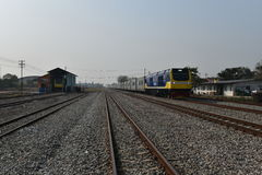 Η τελετή μεταφοράς της diesel-ηλεκτρικής ατμομηχανής για να δηλώσει το σιδηρόδρομο της Ταϊλάνδης Στοκ εικόνες με δικαίωμα ελεύθερης χρήσης