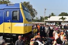 Η τελετή μεταφοράς της diesel-ηλεκτρικής ατμομηχανής για να δηλώσει το σιδηρόδρομο της Ταϊλάνδης Στοκ Φωτογραφίες