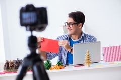 Η τηλεοπτική blogger καταγραφή που κάνει τη διακόσμηση εγγράφου στοκ εικόνα