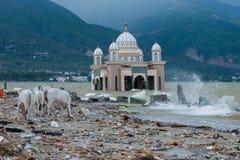 Η τοπική συνθήκη στην παραλία Talise μετά από το τσουνάμι χτύπησε σε Palu, Ινδονησία στις 28 Σεπτεμβρίου 2018 στοκ φωτογραφία