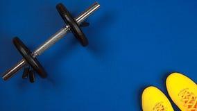 Η τοπ άποψη σχετικά με τον αθλητισμό έθεσε για τη γυμναστική με κίτρινα snickers μόδας και τον ασημένιο αλτήρα στο μπλε υπόβαθρο  στοκ φωτογραφία με δικαίωμα ελεύθερης χρήσης