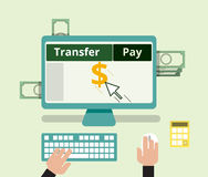 Η τραπεζική μεταφορά Διαδικτύου και πληρώνει την έννοια τιμολόγησης Επίπεδο σχέδιο Στοκ Φωτογραφία