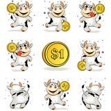 Η τρελλή νέα αγελάδα κινούμενων σχεδίων με το χρυσό νόμισμα 1 δολάριο είναι ευτυχής και Dan απεικόνιση αποθεμάτων