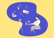 η τρισδιάστατη έννοια Διαδίκτυο δίνει τις αγορές Διάσημα εργασία και παιχνίδι blogger κοριτσιών με on-line βίντεο καταγραφής και  ελεύθερη απεικόνιση δικαιώματος
