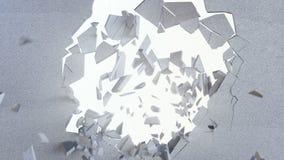 η τρισδιάστατη απόδοση, έκρηξη, σπασμένος συμπαγής τοίχος, ράγισε τη γη, τρύπα από σφαίρα, καταστροφή, αφηρημένο υπόβαθρο με τον  απεικόνιση αποθεμάτων