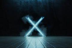 η τρισδιάστατη απόδοση πλαισιωμένος φωτίζει τη μορφή αλφάβητου Χ στο πάτωμα κεραμιδιών grunge που περιβάλλεται από τον καπνό διανυσματική απεικόνιση