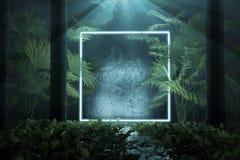 η τρισδιάστατη απόδοση του μπλε φωτίζει την τετραγωνική μορφή με την ελαφριά ακτίνα που περιβάλλεται από τους φοίνικες ελεύθερη απεικόνιση δικαιώματος