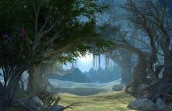 η τρισδιάστατη απόδοση το σκοτεινό δάσος στο σεληνόφωτο διανυσματική απεικόνιση