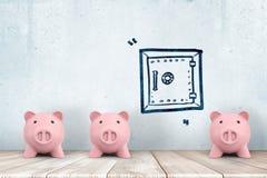 η τρισδιάστατη απόδοση τριών χαριτωμένων piggy τραπεζών αντιμετωπίζει προς τα εμπρός να σταθεί κοντά σε έναν τοίχο με ένα σχέδιο  στοκ φωτογραφίες με δικαίωμα ελεύθερης χρήσης
