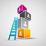 η τρισδιάστατη απομονωμένη εδραίωση θέσης σκάλα δίνει το λευκό διάλυσης Στοκ Φωτογραφία