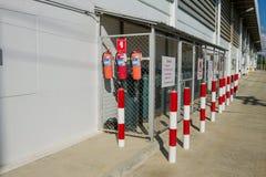 η τρισδιάστατη εικόνα πυρκαγιάς πυροσβεστήρων ανασκόπησης απομόνωσε το λευκό Στοκ εικόνες με δικαίωμα ελεύθερης χρήσης