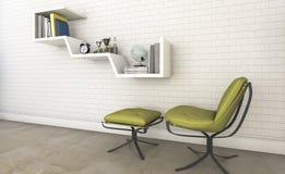 η τρισδιάστατη καρέκλα σχεδίου απόδοσης συμπαθητική με το καλό σχέδιο ενσωμάτωσε το ράφι Στοκ Εικόνα