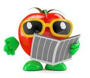 η τρισδιάστατη ντομάτα διαβάζει την εφημερίδα Στοκ Εικόνα