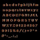 η τρισδιάστατη πηγή χρωμάτισε κόκκινο λιποθύμησε ξύλινο πλήρες ξύλινο πλήρες αλφάβητο αλφάβητου Στοκ φωτογραφία με δικαίωμα ελεύθερης χρήσης