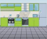 η τρισδιάστατη πράσινη εσωτερική κουζίνα σύγχρονη δίνει διανυσματική απεικόνιση