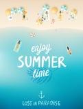 Η τροπική αφίσα παραλιών, απολαμβάνει το καλοκαίρι ελεύθερη απεικόνιση δικαιώματος