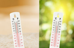 Η τροπική θερμοκρασία, που μετριέται σχετικά με ένα υπαίθρια θερμόμετρο με συγκρίνει μεταξύ της φύσης Στοκ φωτογραφία με δικαίωμα ελεύθερης χρήσης