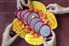 Η τροπική κατάταξη φρούτων σε ετοιμότητα ένα πιάτο και ανθρώπων, κλείνει επάνω Το Yummy επιδόρπιο, κλείνει επάνω Μάγκο, papaya, p στοκ φωτογραφίες με δικαίωμα ελεύθερης χρήσης