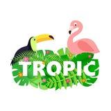 Η ΤΡΟΠΙΚΗ σύνθεση λέξης με τη ζούγκλα αφήνει στο λουλούδι το toucan φλαμίγκο στο άσπρο υπόβαθρο στο ύφος περικοπών εγγράφου λευκό ελεύθερη απεικόνιση δικαιώματος