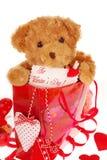 η τσάντα αντέχει το teddy βαλεντίνο δώρων Στοκ φωτογραφία με δικαίωμα ελεύθερης χρήσης