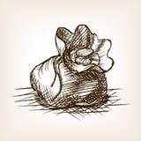 Η τσάντα με τα νομίσματα δίνει το συρμένο διάνυσμα ύφους σκίτσων ελεύθερη απεικόνιση δικαιώματος