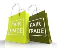 Η τσάντα τίμιου εμπορίου αντιπροσωπεύει τις ίσες διαπραγματεύσεις και την ανταλλαγή απεικόνιση αποθεμάτων