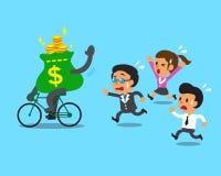 Η τσάντα χρημάτων κινούμενων σχεδίων οδηγά την ομάδα ποδηλάτων και επιχειρήσεων Στοκ Φωτογραφία