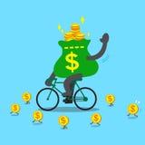 Η τσάντα χρημάτων κινούμενων σχεδίων οδηγά το ποδήλατο Στοκ Εικόνες