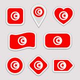 Η Τυνησία σημαιοστολίζει τις αυτοκόλλητες ετικέττες καθορισμένες Διανυσματική συλλογή των τυνησιακών εθνικών σημαιών Σύγχρονα απο Διανυσματική απεικόνιση